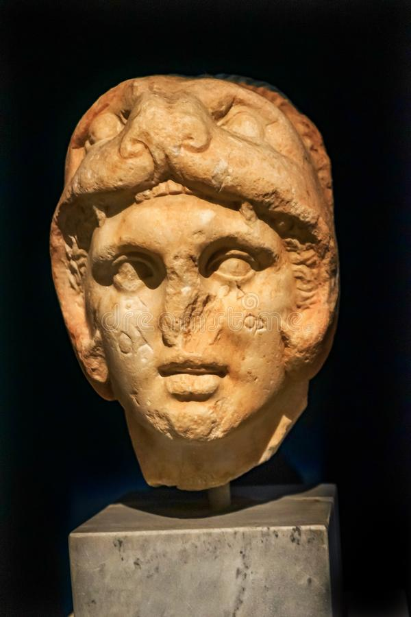 Museu arqueológico Athen de Alexander Great Bust Statue National foto de stock