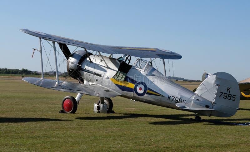 Museu da Guerra Imperial Duxford, Cambridgeshire, Reino Unido 2019: Batalha do show aéreo britânico Gloster Gladiator fotografia de stock royalty free