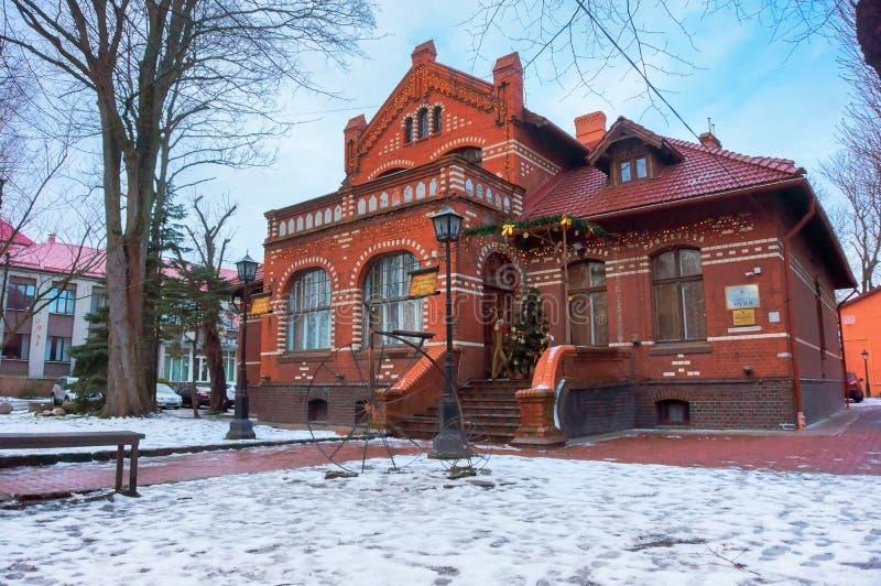 Museu da sabedoria local, rua da cidade de Zelenograd de Lenin perto da casa de campo anterior Krell da esta??o fotografia de stock