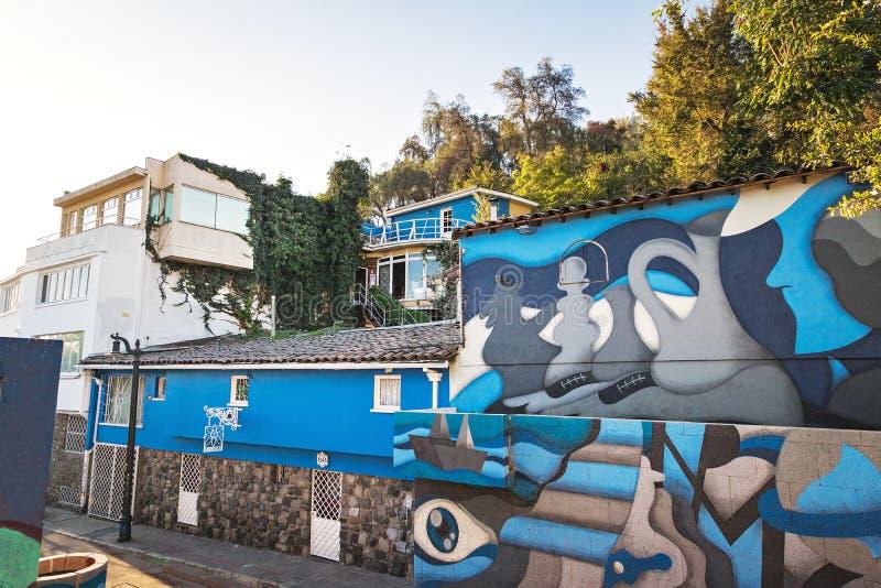 Museu de Chascona do La, a casa do poeta Pablo Neruda - Santiago, o Chile imagens de stock royalty free
