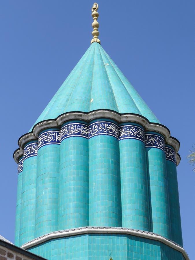 Museu de Mevlana A abóbada do túmulo, coberta com as telhas da faiança de turquesa imagens de stock royalty free