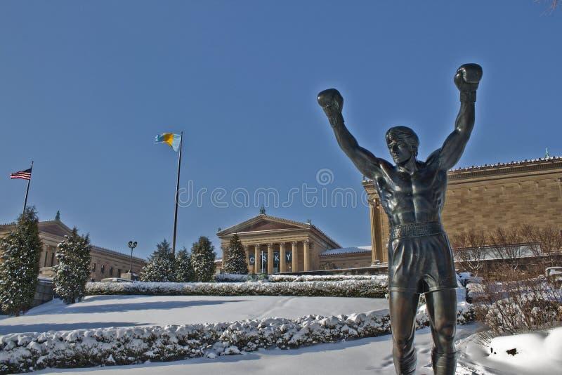Museu de Philadelphfia no inverno fotografia de stock