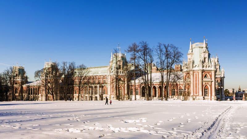 Museu grande Tsaritsyno do palácio Moscovo, Rússia fotografia de stock