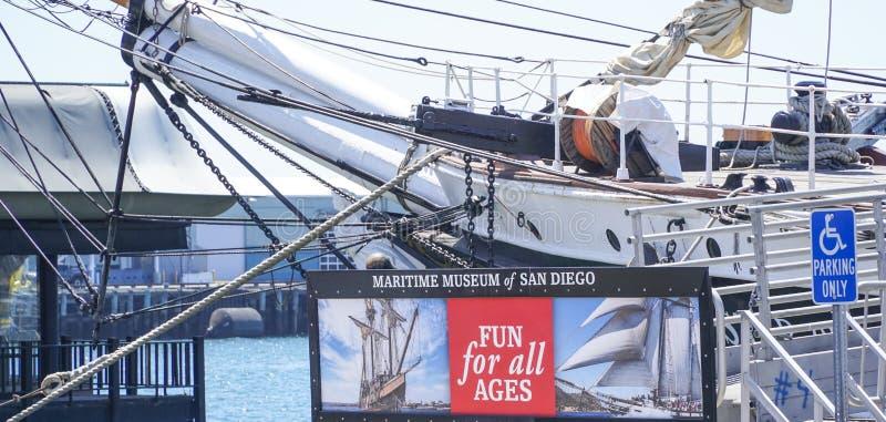 Museu marítimo de San Diego - SAN DIEGO - CALIFÓRNIA - 21 de abril de 2017 foto de stock royalty free
