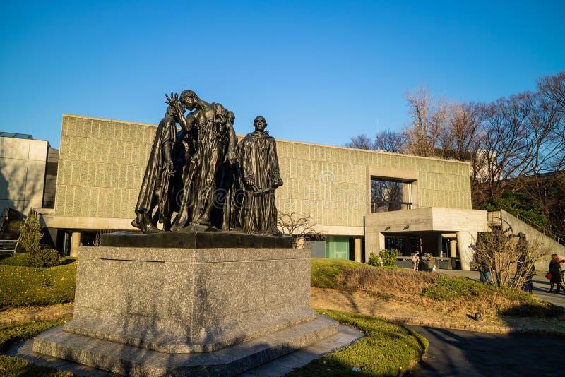 Museu Nacional da opinião ocidental da arte do parque de Ueno imagens de stock royalty free