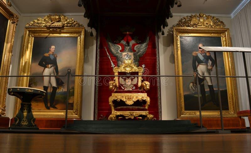 Museu Nacional Helsínquia do trono do imperador do russo imagens de stock royalty free