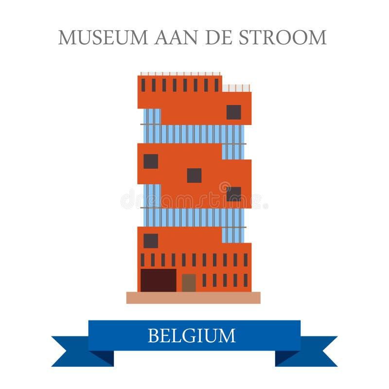 Museum Aan De Stroom i Antwerp Belgien Illustration för vektor för webbplats för dragning för showplace för sikt för plan tecknad royaltyfri illustrationer