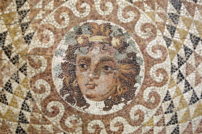 Museum of ancient Corinth. Greece, ancient Corinth, a mosaic in the museum royalty free stock image