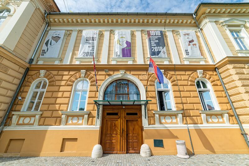 `Museum of the Annexation of Vojvodina to the Kingdom of Serbia`. Novi Sad, Serbia - September 17,2019: Building of Museum of Vojvodina at the center of the City stock photography