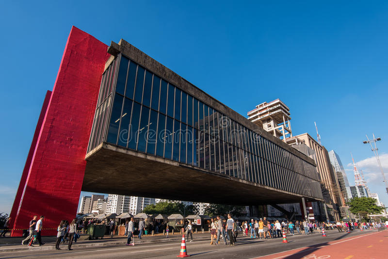 Museum of Art of Sao Paulo in Paulista Avenue royalty free stock photo
