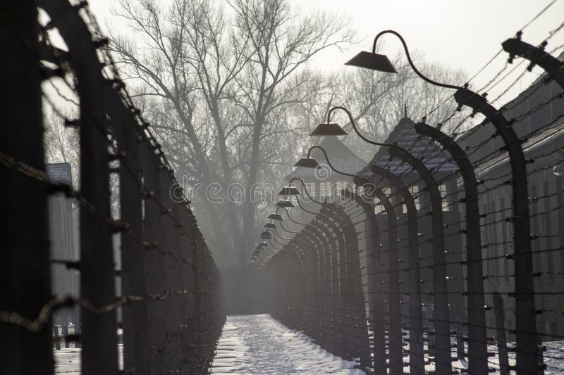 Museum Auschwitz - Holocaust Memorial Museum. Anniversary Concentration Camp Liberation Barbed wire around a concentration camp. royalty free stock photo