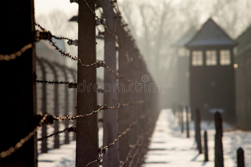 Museum Auschwitz - Holocaust Memorial Museum. Anniversary Concentration Camp Liberation Barbed wire around a concentration camp. Shed guard in the background royalty free stock image