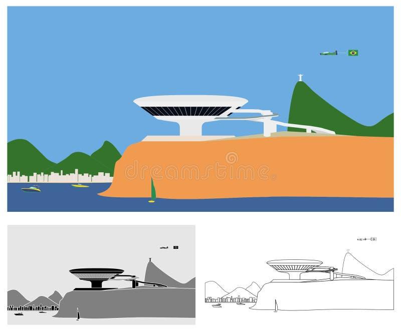 Museum av färgad samtida konst av det Niteroi landskapet och översikten vektor illustrationer