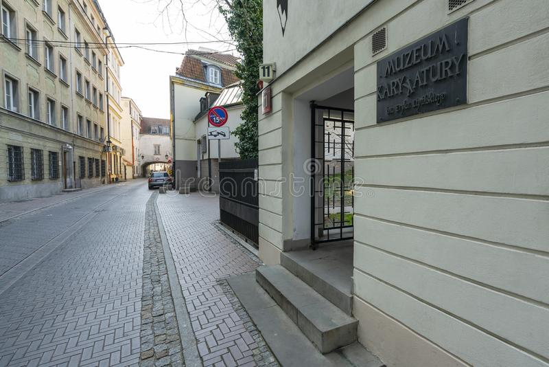 "Museum av karikatyr E LipiÅ ""skidar ingången i Warszawa royaltyfri foto"