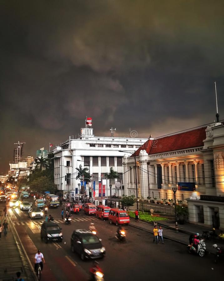 Museum of Bank Indonesia. Jakarta, Indonesia . Museum building before dawn with clouds background