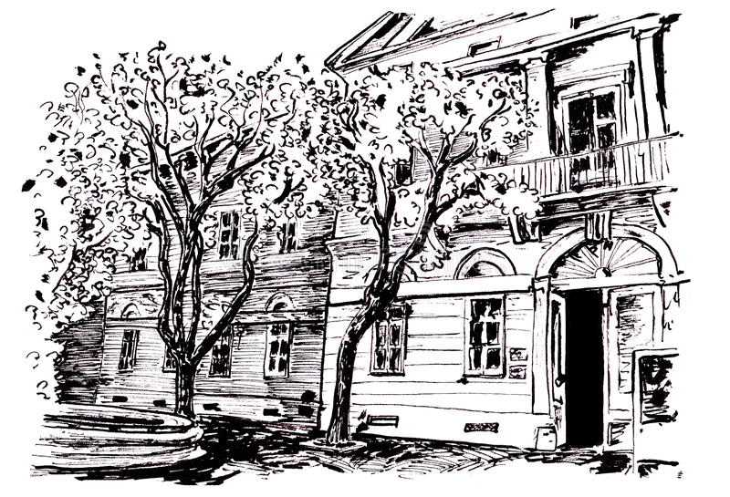 Museum building. Black and white illustration of museum building in Kikinda Serbia stock illustration