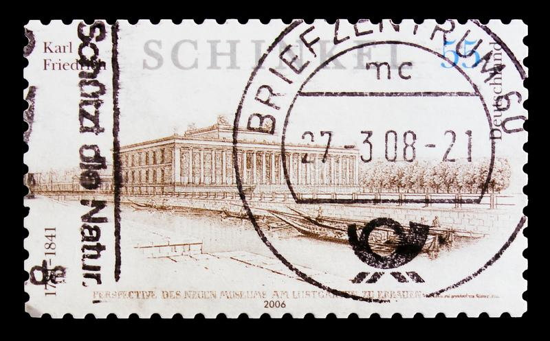Museum building in Lustgarten, 225th Birth Anniversary of Karl Friedrich Schinkel serie, circa 2006. MOSCOW, RUSSIA - OCTOBER 21, 2017: A stamp printed in German stock image