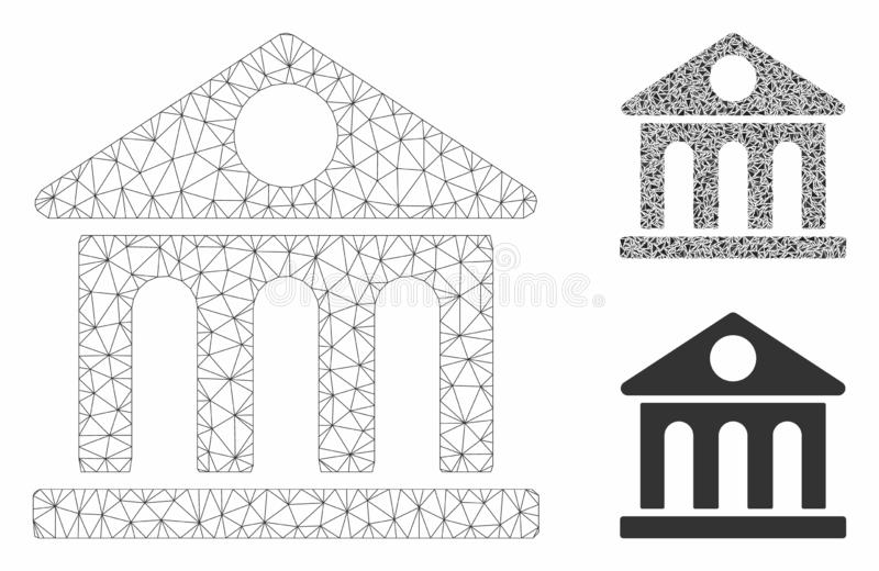 Museum Building Vector Mesh Carcass Model and Triangle Mosaic Icon. Mesh museum building model with triangle mosaic icon. Wire carcass polygonal mesh of museum royalty free illustration