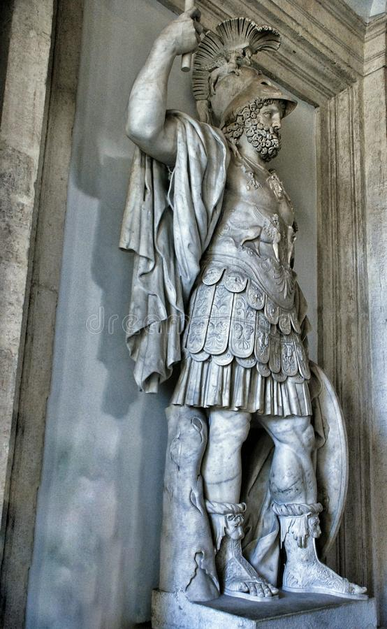 Colossal statue of Mars: Pyrrhus in Museum Capitoline, Rome Italy royalty free stock images