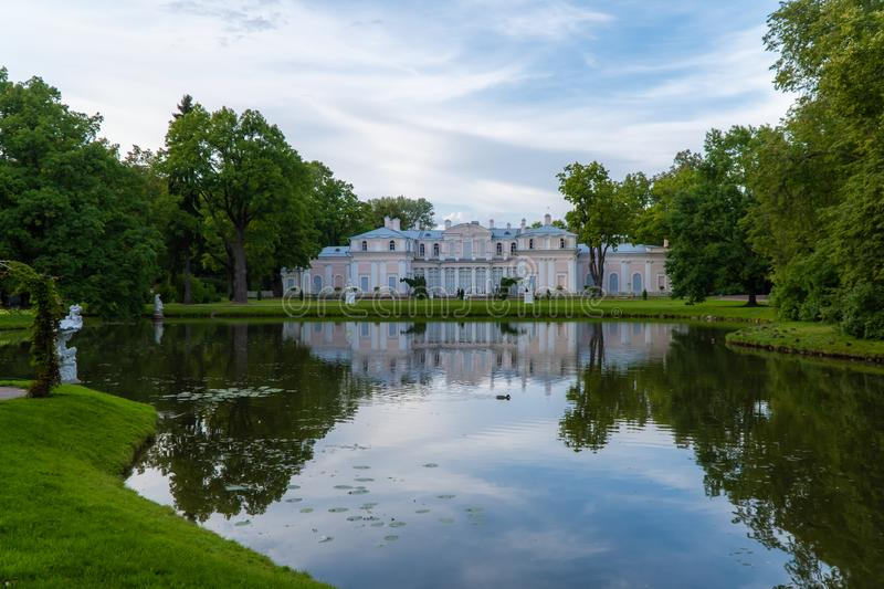 Museum of the Chinese Palace and the Chinese pond in the summer. Russia. Lomonosov. Museum of the Chinese Palace and the Chinese pond in the summer stock photo