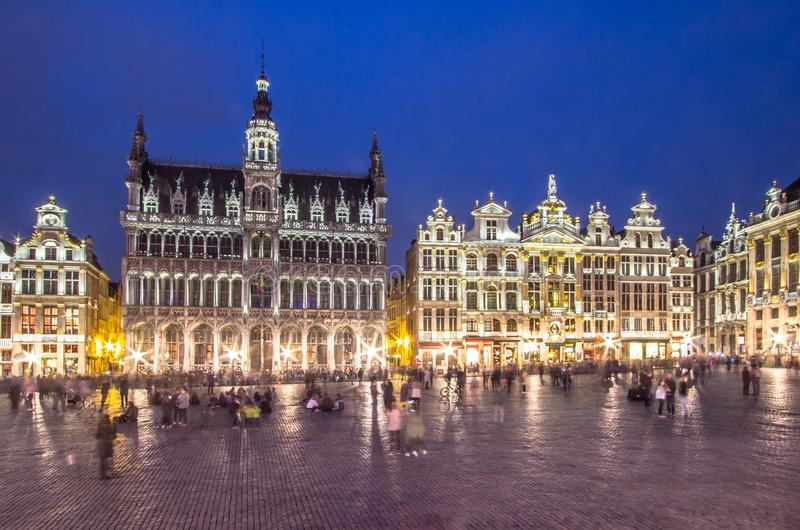 Museum of the City of Brussels - The Broodhuis Maison du Roi,. Panorama of the Museum of the City of Brussels on Grand Place in Brussel, Belgium stock photo