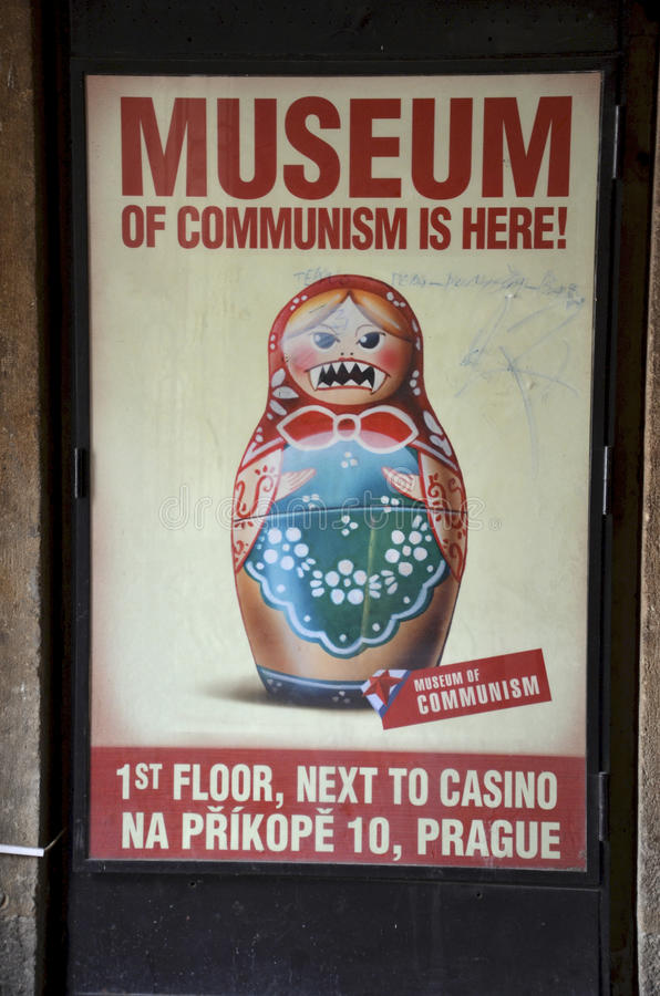 Museum of Communism, Prague. Poster indicating where one can find the Museum of Communism in Prague, Czech Republic stock photo