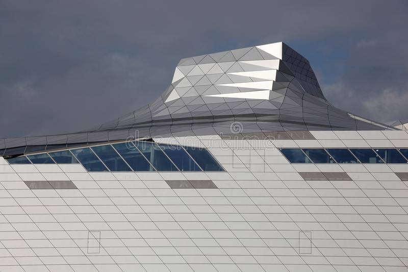 Museum of Confluences in Lyon. Lyon, France - October 14, 2014:The Musee des Confluences is a science centre and anthropology museum which opened on 20 December stock image