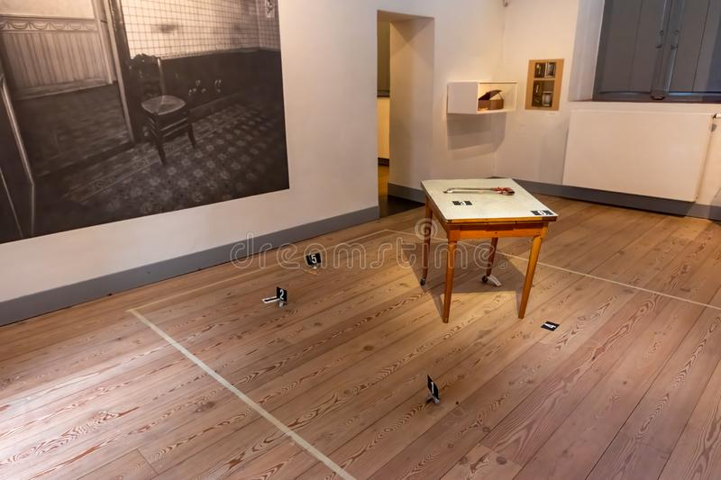 Museum of a crime scene stock photography