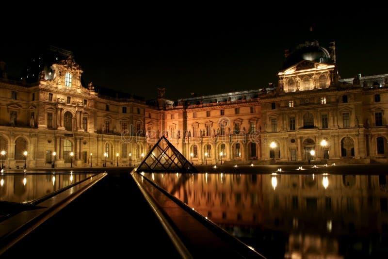 Museum du Louvre στη νύχτα στοκ εικόνες