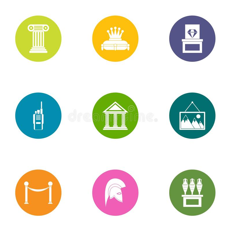 Museum exhibition icons set, flat style vector illustration