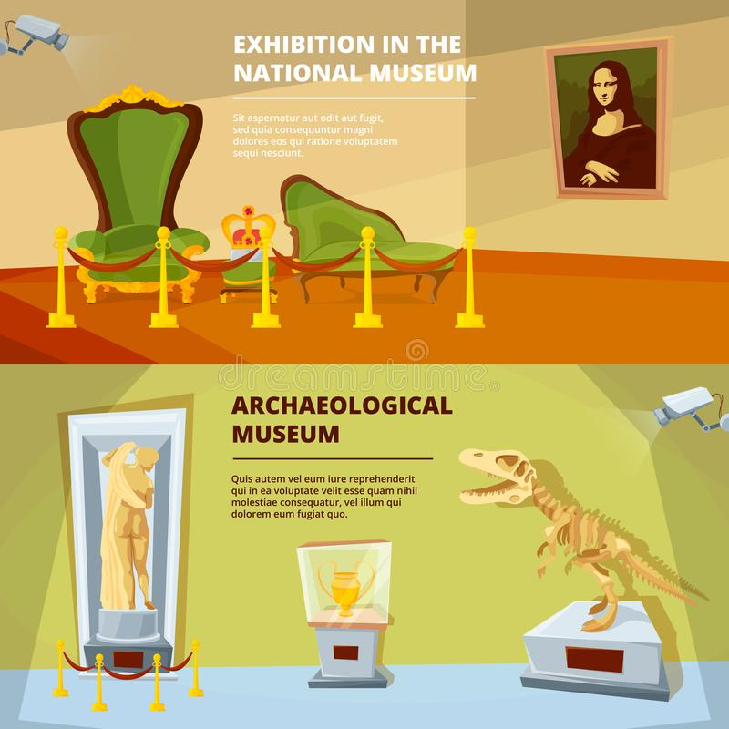 Museum exhibition. Vector banners set. Museum exposition and exhibit sculpture and dinosaur illustration stock illustration