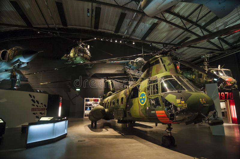 Museum för flygvapen för kalla krigetflygplanskärm svenskt arkivfoton