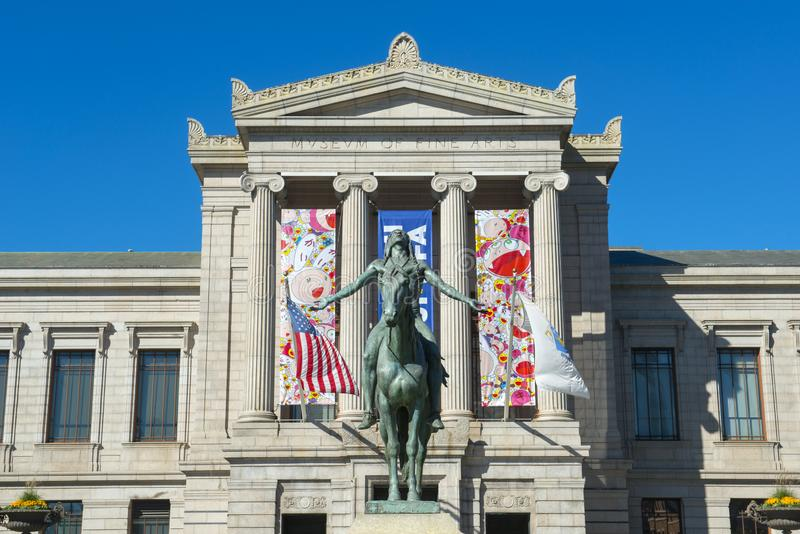 Museum of Fine Arts, Boston, Massachusetts, USA. Museum of Fine Arts and Appeal to the Great Spirit statue, Boston, Massachusetts, USA royalty free stock image