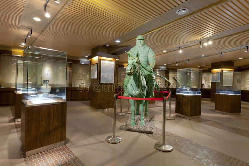 Museum of Genghis Khan. Wide angle of Museum of Genghis Khan with one of his warriors royalty free stock photography