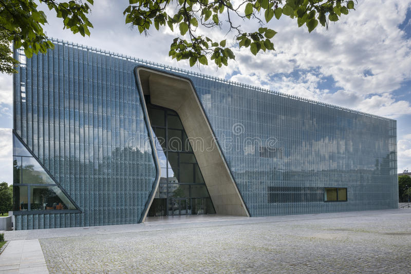 Museum of the History of Polish Jews in Warsaw, Poland. WARSAW, POLAND - JUNE 19, 2014: Museum of the History of Polish Jews, built in years 2009-2013 is become royalty free stock photo