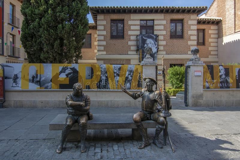 Museum and house birthplace of Miguel de Cervantes with statues royalty free stock photography