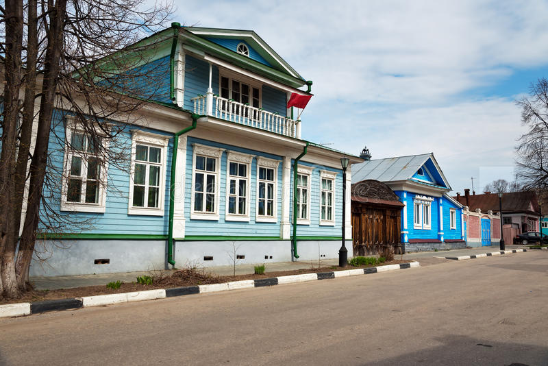 The Museum House of Countess Panina , old blue wooden house with carved patterns stock photography