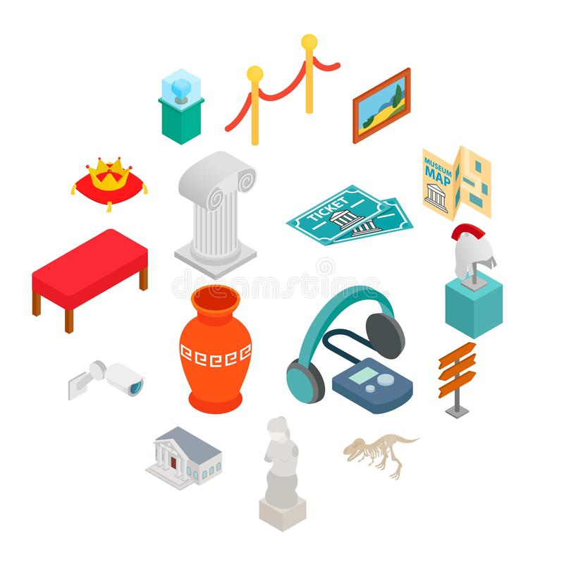 Museum icons set. In isometric 3d style on white background royalty free illustration