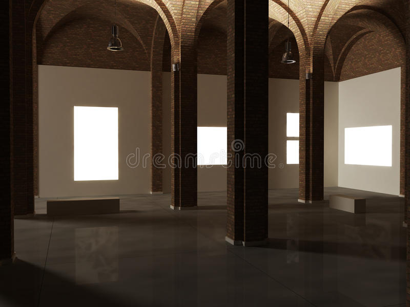 Museum interior design, expo, work of art mock up. Museum interior design, expo, work of art royalty free stock images