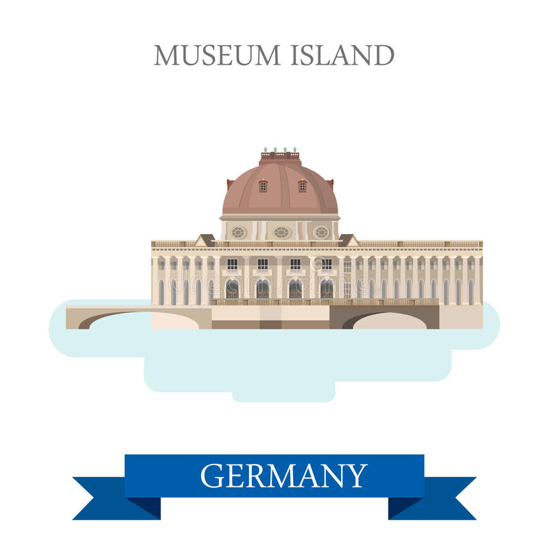 Museum Island Berlin Germany flat vector attraction landmark. Museum Island in Berlin Germany. Flat cartoon style historic sight showplace attraction point of vector illustration