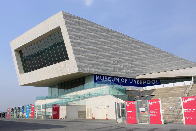 Museum of Liverpool modern building on waterfront. View of part of the modern building that houses the Museum of Liverpool on the waterfront at Liverpool near stock photo