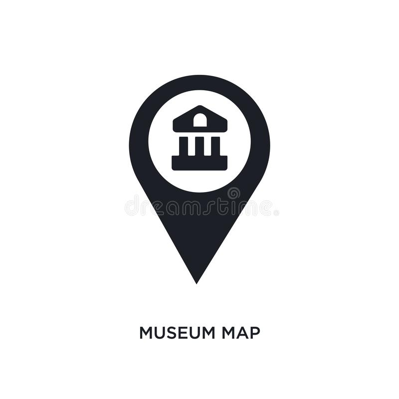 Museum map isolated icon. simple element illustration from museum concept icons. museum map editable logo sign symbol design on. White background. can be use vector illustration