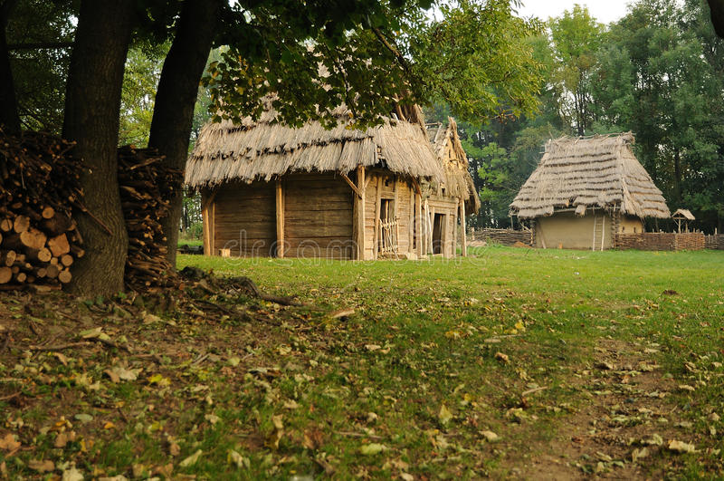 Museum of medieval architecture. Outdoor museum of primitive medieval architecture stock images