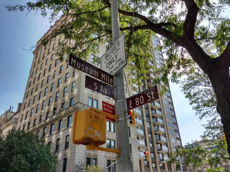 Museum Mile, 5th Avenue at East 80th Street, Street Signs, Central Park Scenic Landmark, Upper East Side, Manhattan, NYC, NY, USA. Nine museums - including the stock photography