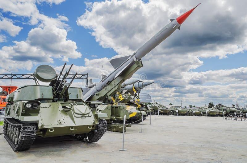 Museum of military equipment. VERKHNYAYA PYSHMA, RUSSIA - JUNE 11, 2015: exhibits of the Museum of military equipment stock photo