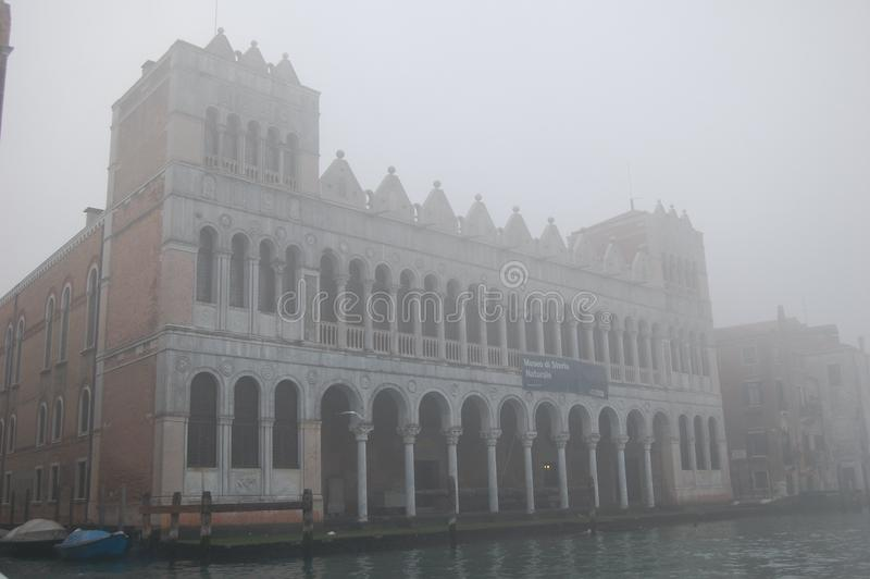 Museum of Natural History in Venice, Italy. To be in an ancient palace. Fog from the sea covered the city. royalty free stock photography
