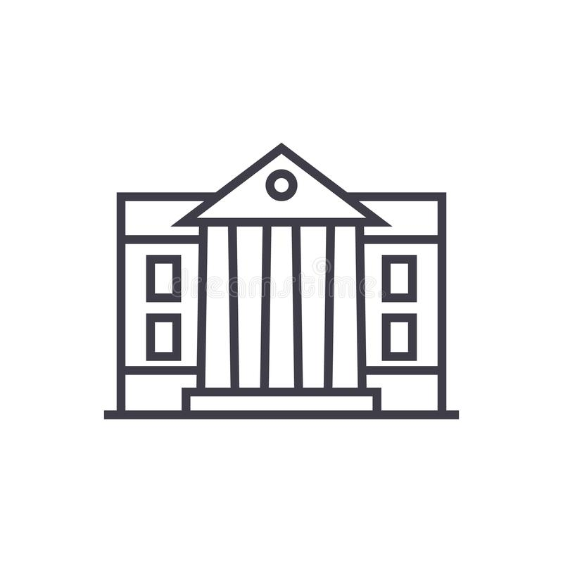 Museum parlamentvektorlinje symbol, tecken, illustration på bakgrund, redigerbara slaglängder stock illustrationer