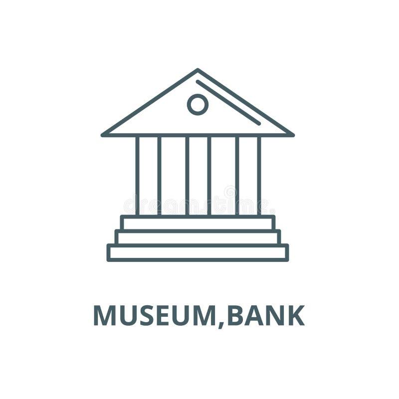 Museum, pictogram van de bank het vectorlijn, lineair concept, overzichtsteken, symbool vector illustratie