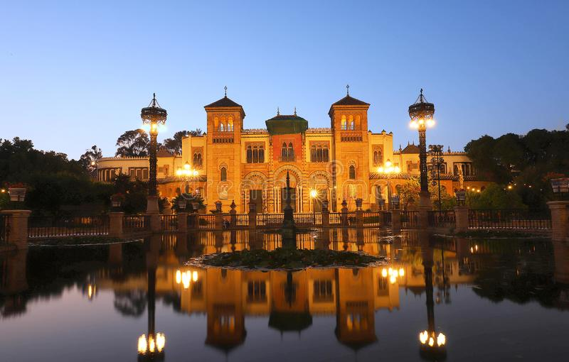 Museum of Popular Arts of Seville, Spain -Mudejar Pavilion in park Maria Luisa. royalty free stock photography