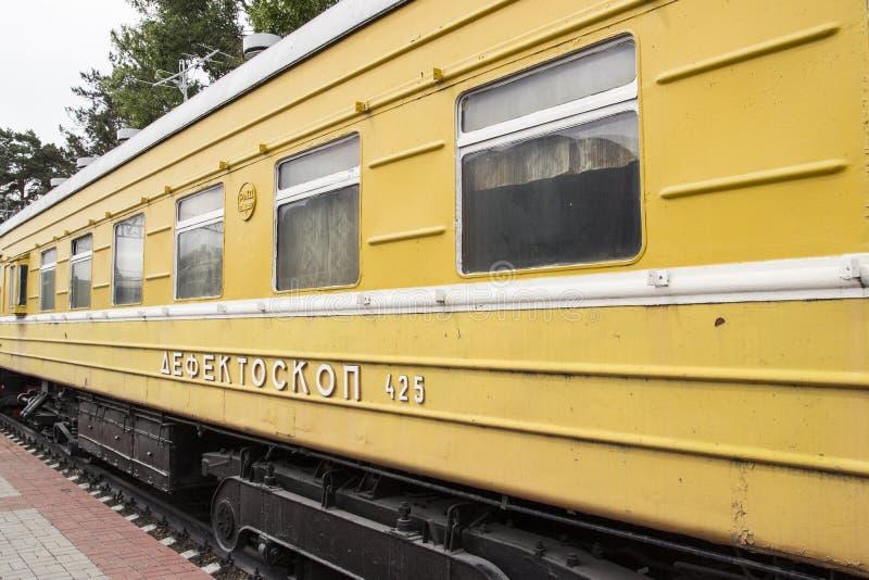 Museum for Railway Technology Novosibirsk. Old, Soviet railway locomotive, repair train. NOVOSIBIRSK, RUSSIA stock photo